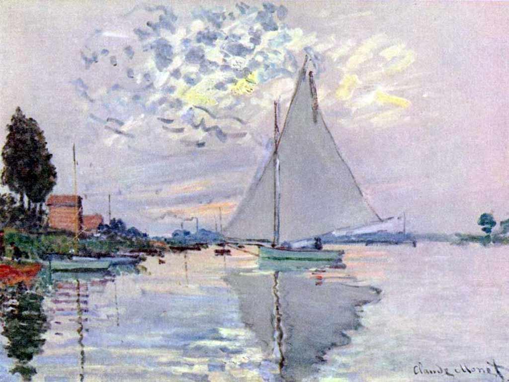 Обои Клод Моне, Два Рыбака, картина, лодка, Пейзаж. Разное foto 16